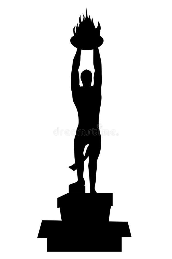 Sylwetki jeden punkt zwrotny Jakarta Indonesia lub Pemuda, pizza mężczyzna Membangun lub Młoda rozwój statua royalty ilustracja
