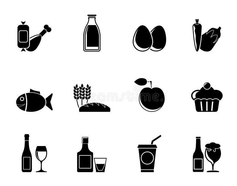 Sylwetki jedzenie, napój i Aliments ikony, royalty ilustracja