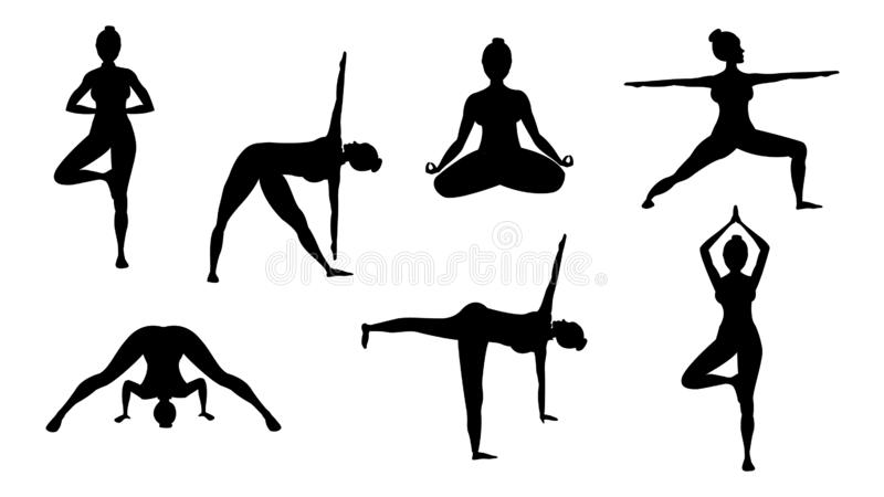 Sylwetki joga pozy ilustracja wektor