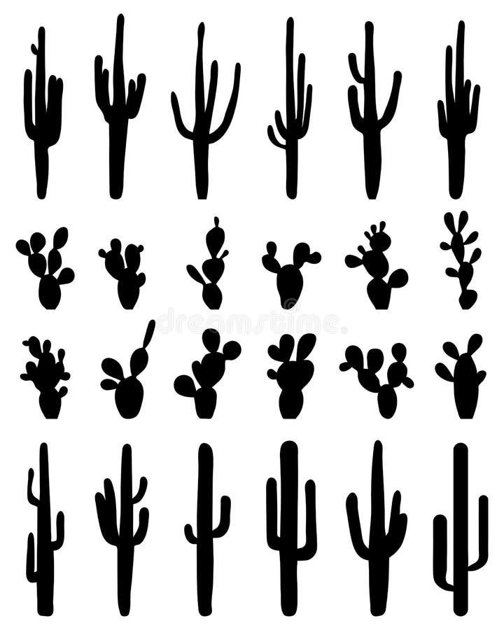 Sylwetki kaktus obrazy royalty free