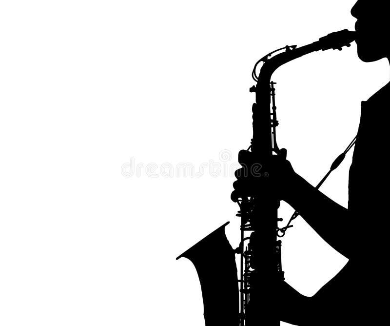 Sylwetki kobieta bawić się saksofon odizolowywającego na białym tle royalty ilustracja
