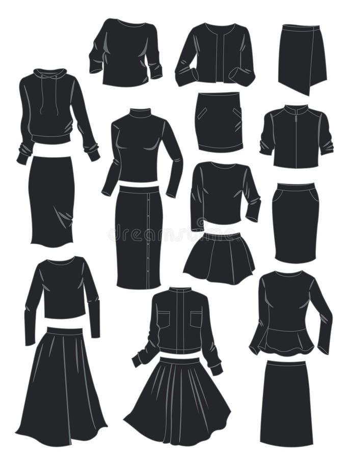 Sylwetki kobiety ` s kostiumy royalty ilustracja