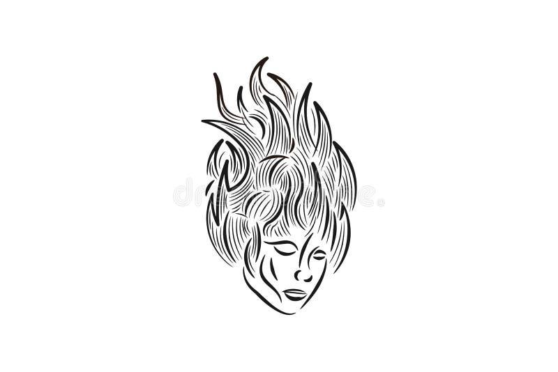 sylwetki kobiety twarz i ogieni płomieni logo Projektujemy inspirację Odizolowywającą na Białym tle royalty ilustracja