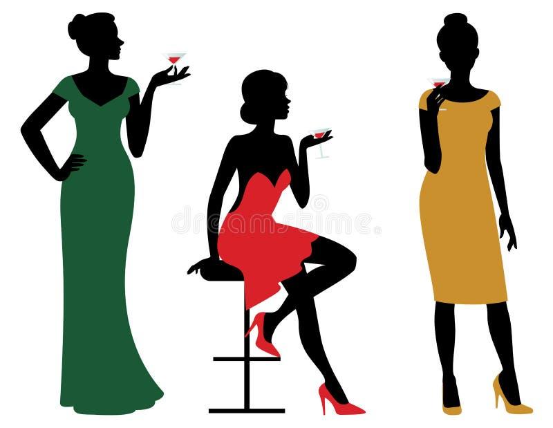 Sylwetki kobiety ubierali w wieczór sukni mienia wina szkle ilustracja wektor