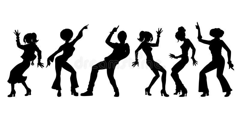 Sylwetki kolekcji set Młodzi ludzie tanczyć mężczyzna kobiet chłopiec dziewczyny royalty ilustracja