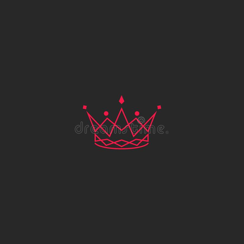 Sylwetki korony logo, princess tiara z klejnotu emblematem, skrzyżowanie menchia wykłada eleganckiego królewskiego projekta eleme ilustracja wektor