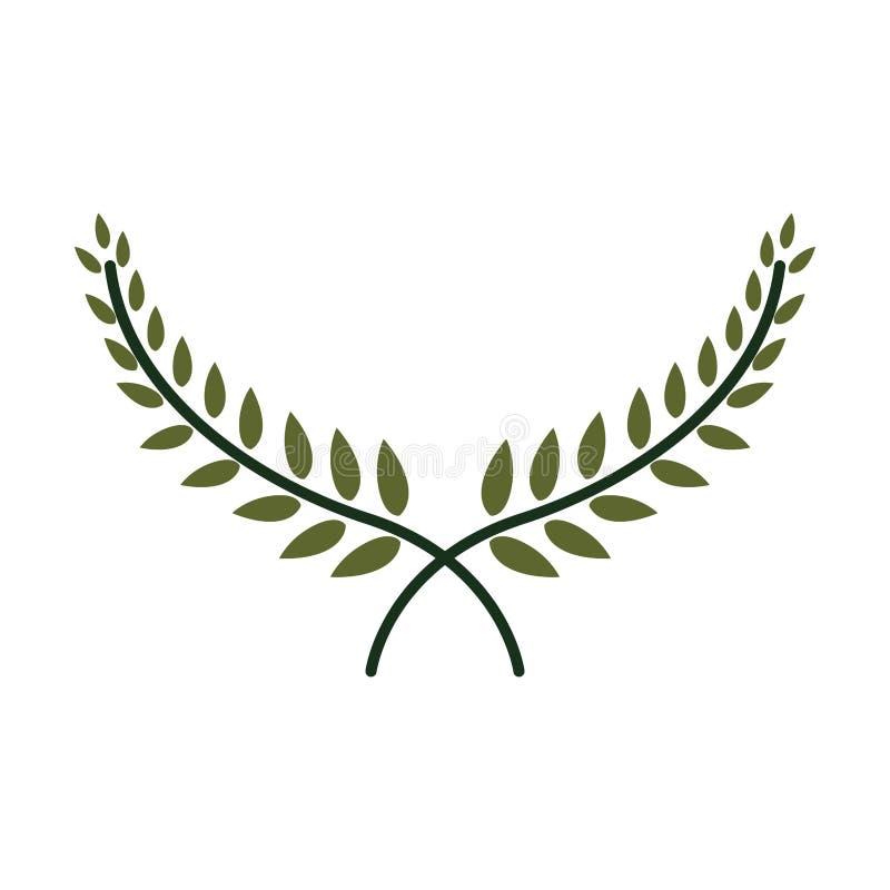 Sylwetki krucjaty korona z liśćmi royalty ilustracja