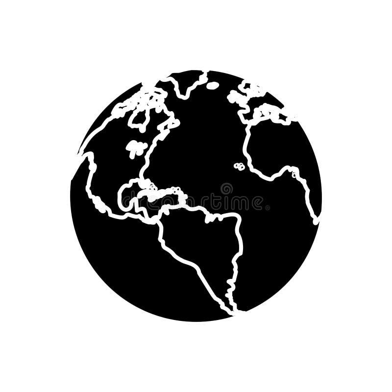 Sylwetki kuli ziemskiej mapy światu ziemi biznesu ikona ilustracja wektor