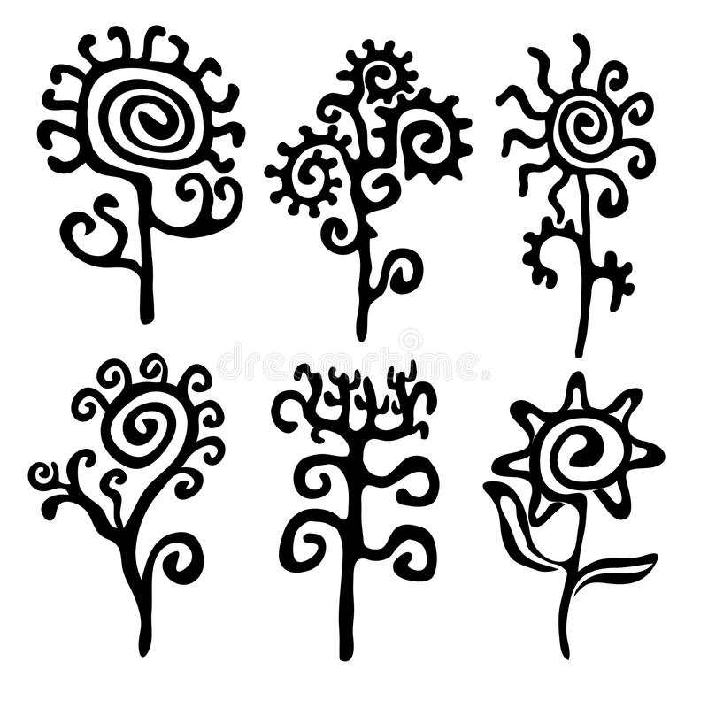 Sylwetki kwiaty obraz stock
