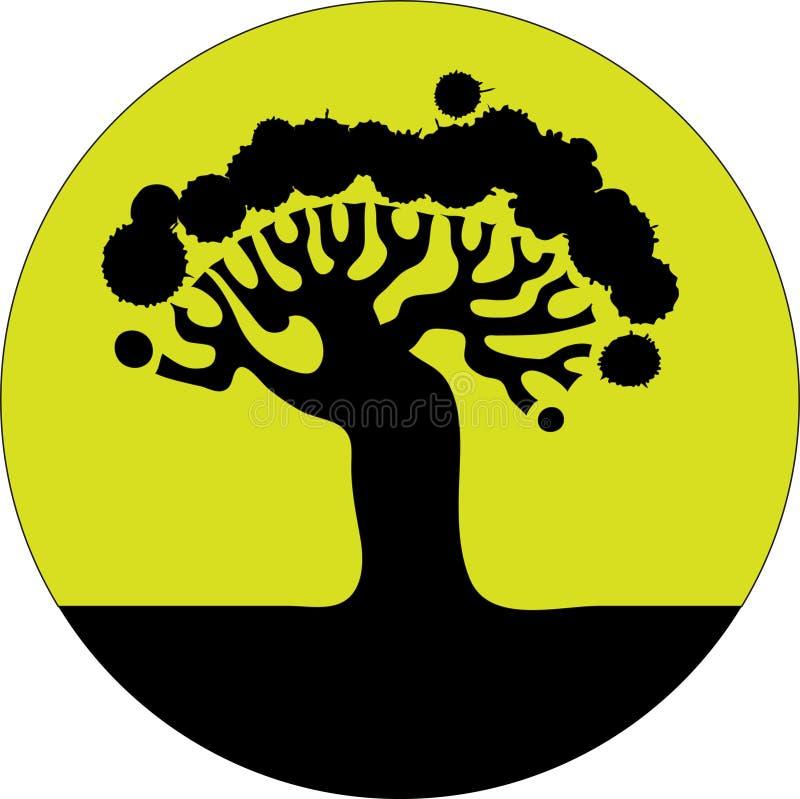 sylwetki kwiecisty drzewo ilustracji