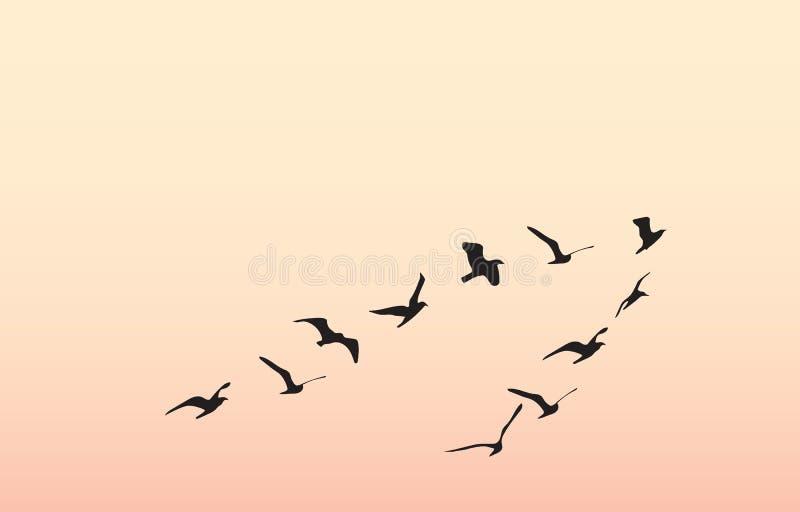 Sylwetki latający ptaki, wektorowa ilustracja ilustracji