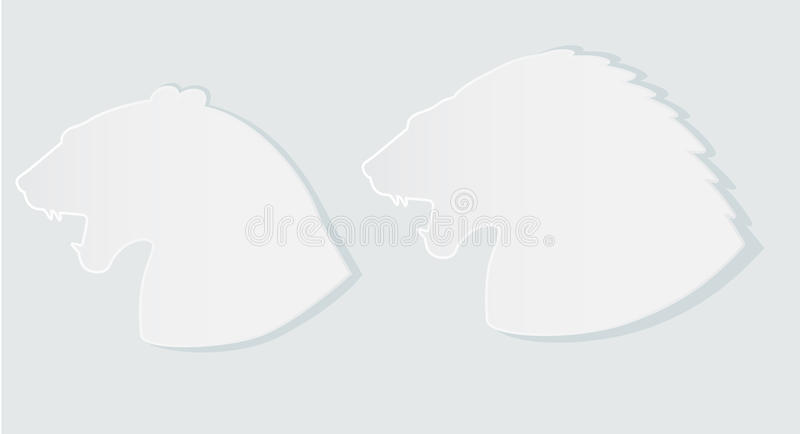 Sylwetki lew i lwica od papieru ilustracji