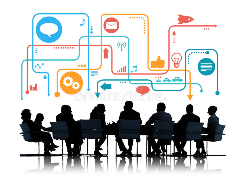 Sylwetki ludzie biznesu Spotyka Ogólnospołecznych Medialnych symbole ilustracji