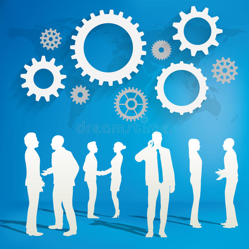 Sylwetki ludzie biznesu z przekładni pojęciem ilustracji