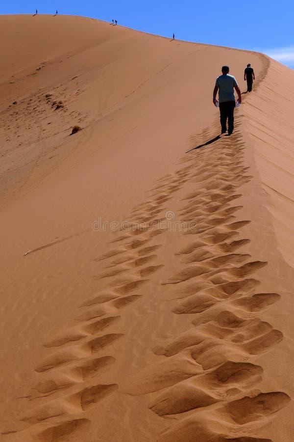 Sylwetki ludzie na grzebieniu piasek diuna w Sosusvlei, Namibia fotografia stock