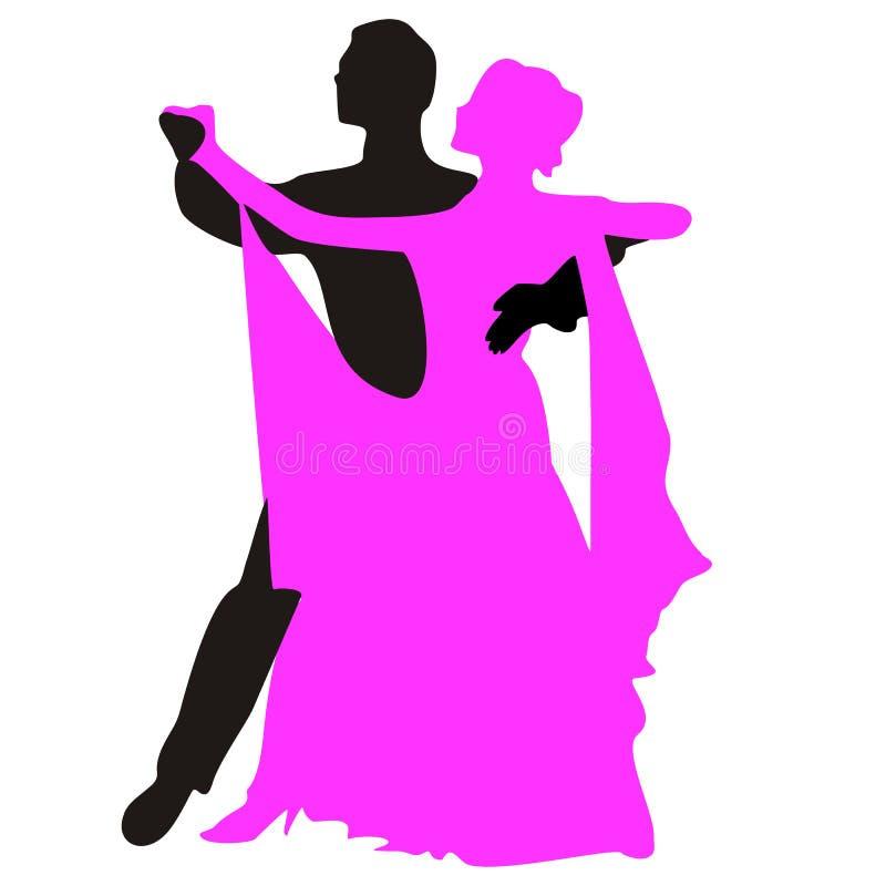 Sylwetki ludzie tanczy walc royalty ilustracja
