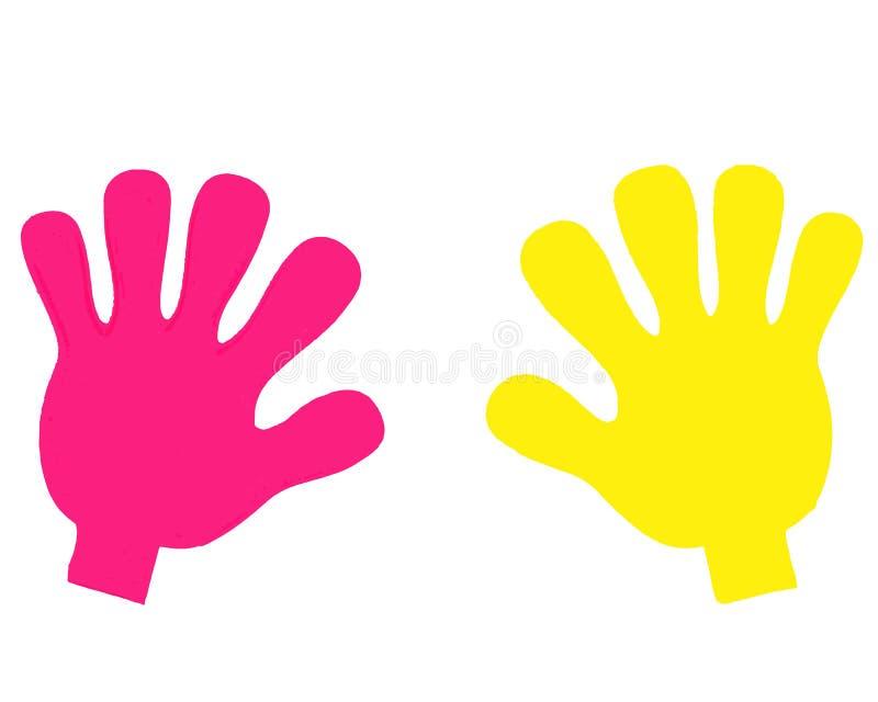 sylwetki ludzkie ręki multinationality ilustracja z jaskrawymi ludzkimi rękami ilustracja wektor