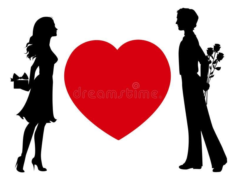 Sylwetki mężczyzna i kobieta z prezentami ilustracja wektor
