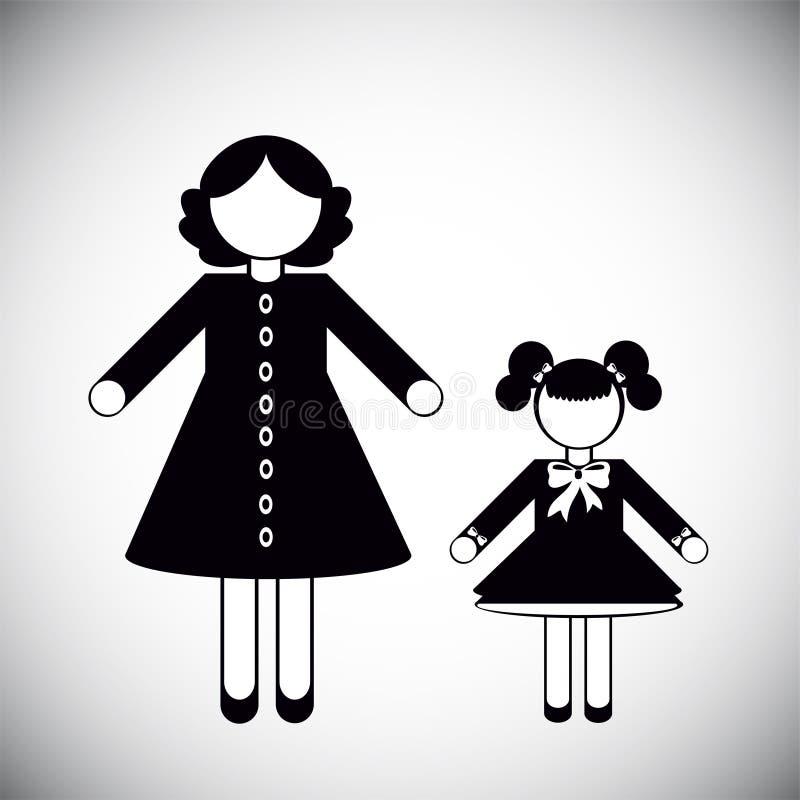 Sylwetki matka i córka ilustracji