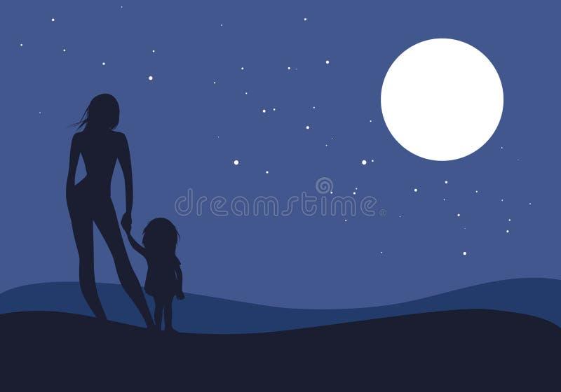 Sylwetki matka i córka patrzeje horyzont pod księżyc w pełni i gwiazdami royalty ilustracja