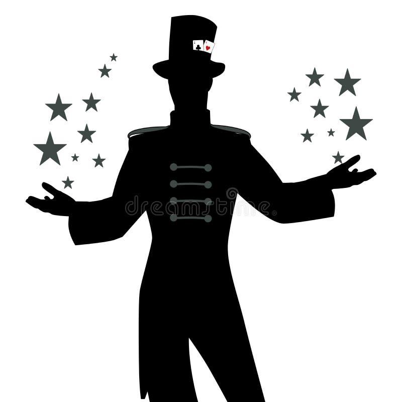 Sylwetki mistrz ceremonie z wąsy, jest ubranym odgórnego kapelusz ozdabiającego z kartami do gry, pokazuje grają główna rolę w je ilustracji