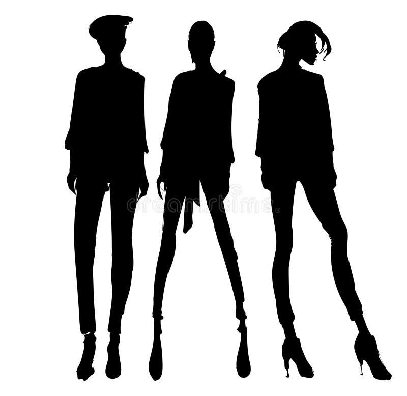 Sylwetki mody dziewczyny Mody ilustracja Sylwetki mody modele ilustracja wektor