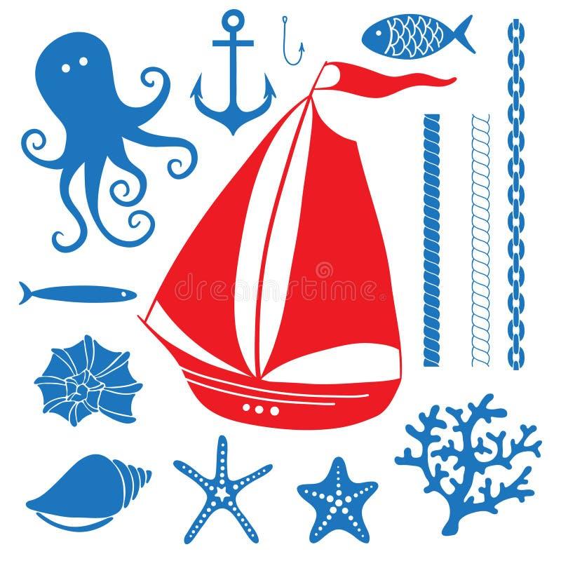 Sylwetki morze - Wręcza rysującego set denni symbole ilustracji