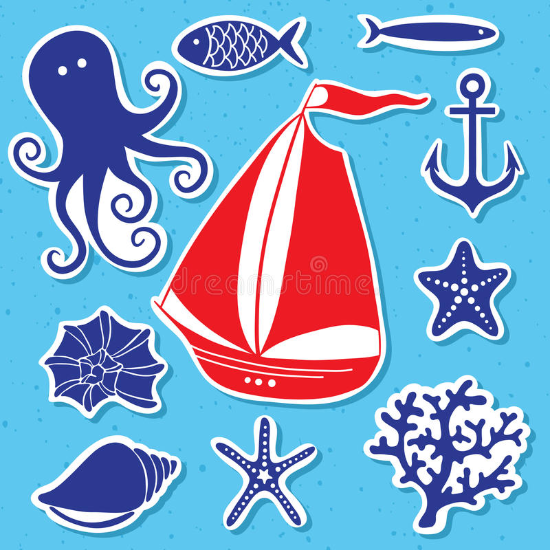 Sylwetki morze - Wręcza rysującego set denni symbole ilustracja wektor