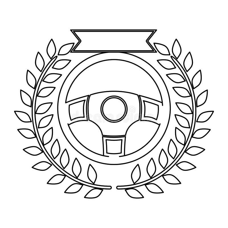Sylwetki nagroda rudder w monochromu z gałązką oliwną i faborkiem ilustracji