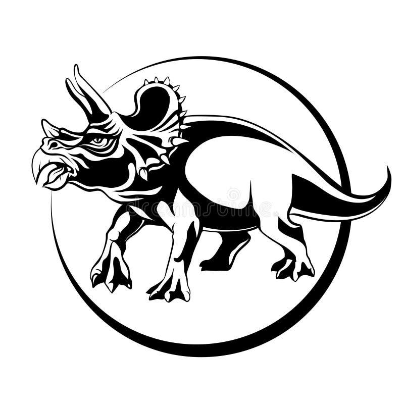 Sylwetki nakreślenia dinosaura trawożerny Triceratops z rogami royalty ilustracja