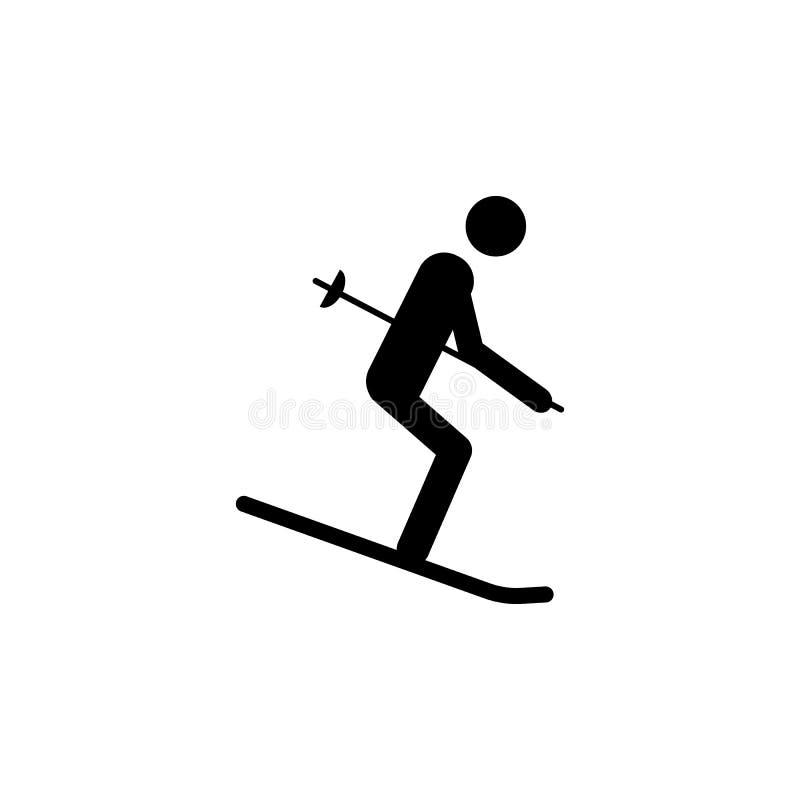 Sylwetki narciarki atlety odosobniona ikona Zima sporta gier dyscyplina Czarny i biały projekta wektoru ilustracja Sieć piktogram royalty ilustracja