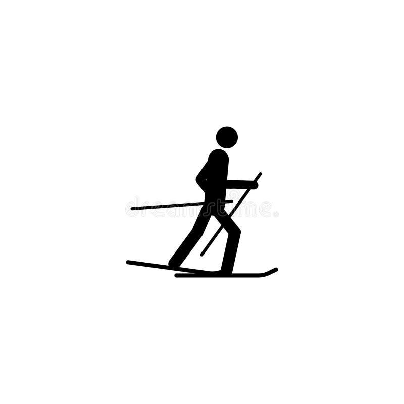 Sylwetki narciarki atlety odosobniona ikona Zima sporta gier dyscyplina Czarny i biały projekta wektoru ilustracja Sieć piktogram ilustracja wektor