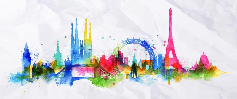 Sylwetki narzuty miasto Paryż ilustracji