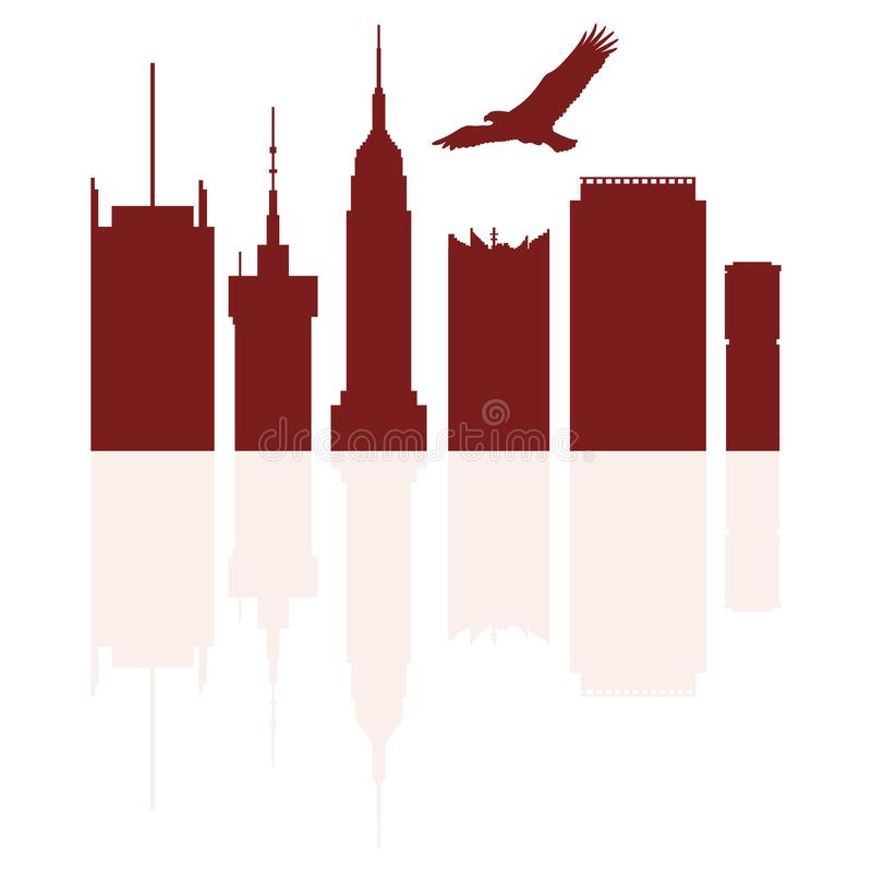 Sylwetki nowożytni budynki w strzelistym orle i usa ilustracji