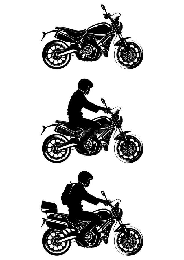 Sylwetki nowożytny motocykl z i bez kierowcy royalty ilustracja