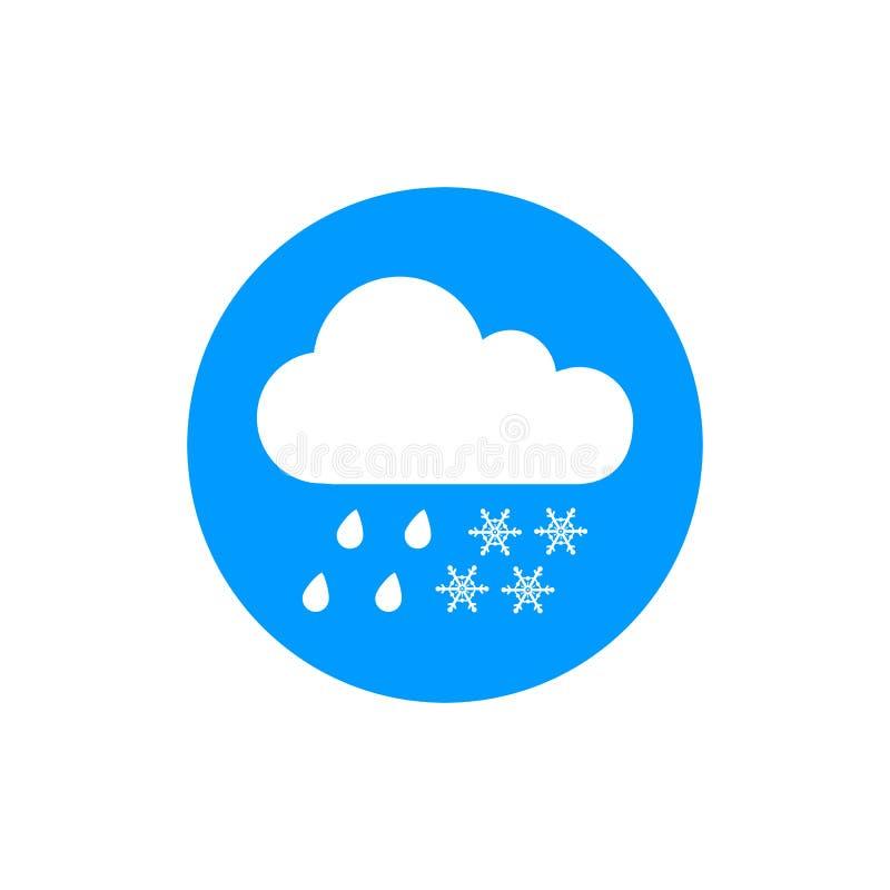 Sylwetki płaska ikona, prosty wektorowy projekt Chmurnieje z płatka śniegu i deszczu kroplą dla prognozy pogody royalty ilustracja