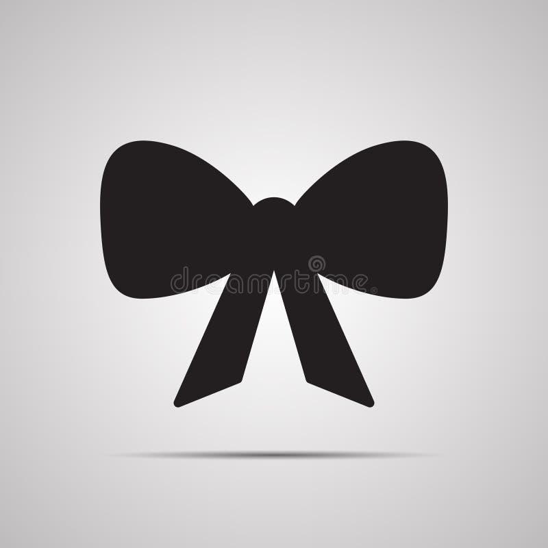 Sylwetki płaska ikona, prosty wektorowy projekt z cieniem Łęk z taśm końcówkami dla teraźniejszości ilustracja wektor