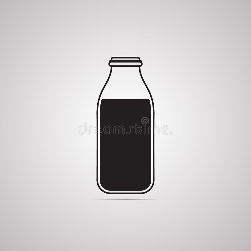 Sylwetki płaska ikona, prosty wektorowy projekt z cieniem Butelka ilustracji