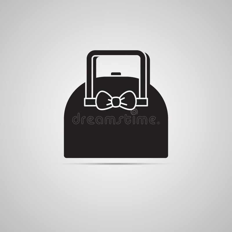 Sylwetki płaska ikona, prosty wektorowy projekt z cieniem Damy torebka z łękiem royalty ilustracja