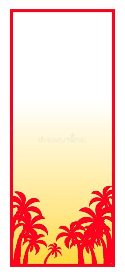 sylwetki palmowy drzewo plażowy świt ilustracja wektor