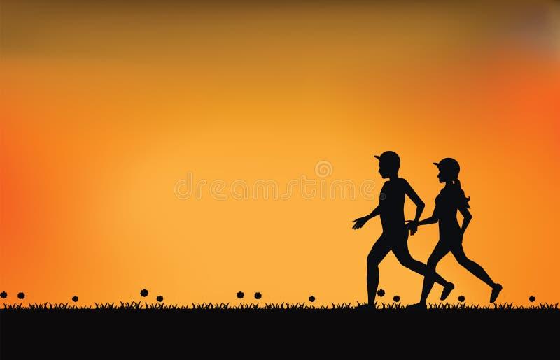 Sylwetki para biegacze z pięknym niebem przy zmierzchem ilustracji