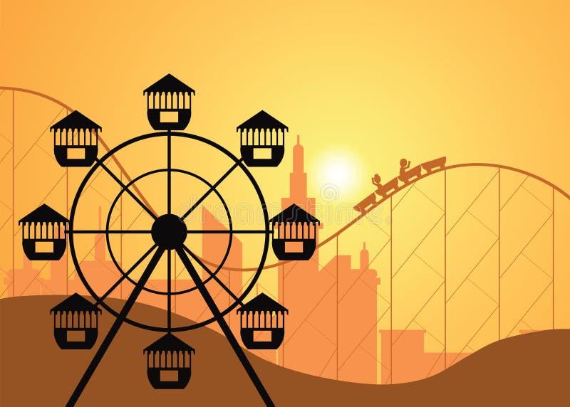Sylwetki park rozrywki z Ferris kołem i miasto ilustracji