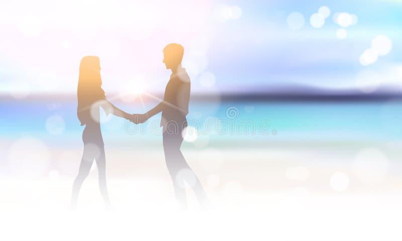Sylwetki pary mienia ręki Na Pięknym morze plaży Bokeh tle ilustracji