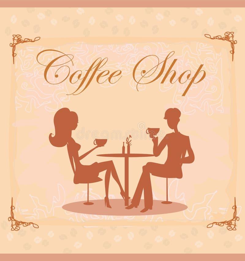 Sylwetki pary obsiadanie w kawiarni royalty ilustracja
