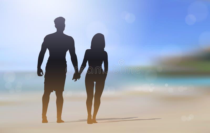 Sylwetki pary odprowadzenie Na Pięknym Plażowym mieniu Wręcza nadmorski Zamazującego tło ilustracja wektor