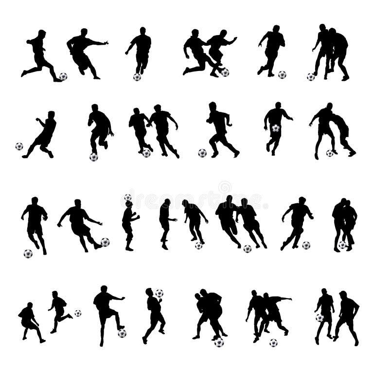 sylwetki piłka nożna royalty ilustracja