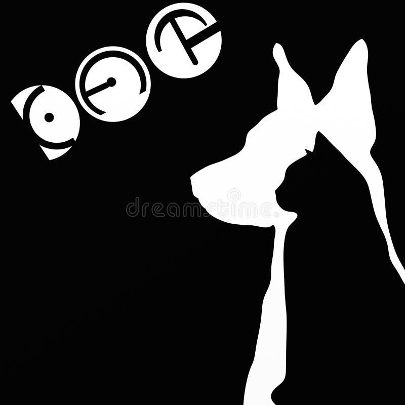 Sylwetki pies i kot royalty ilustracja