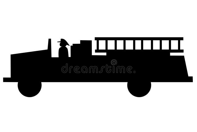 sylwetki pożarnicza ciężarówka royalty ilustracja