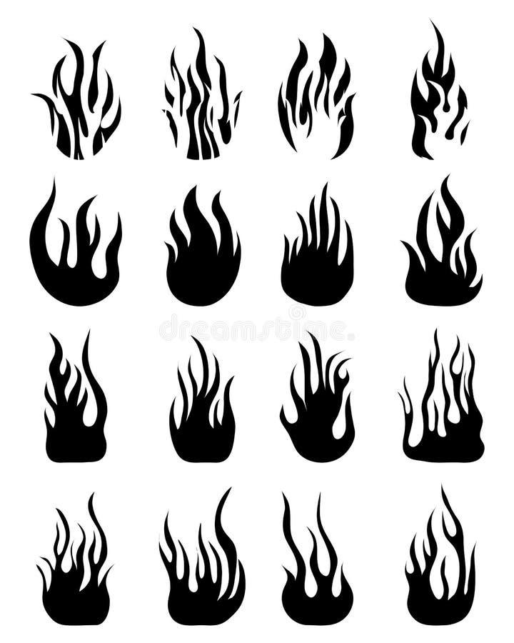 Sylwetki pożarniczy płomienie obraz royalty free
