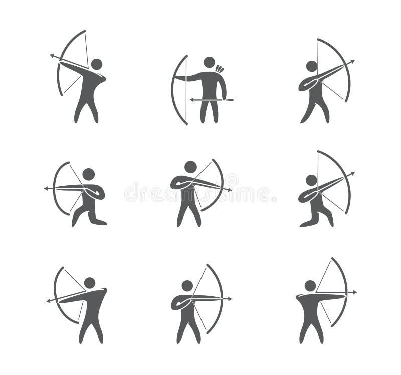 Sylwetki postaci łuczniczki ikon wektoru set ilustracji